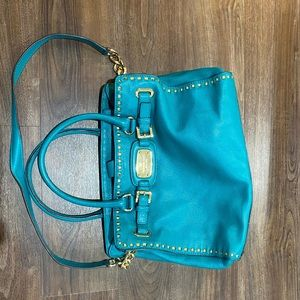 Michael kors green and gold purse